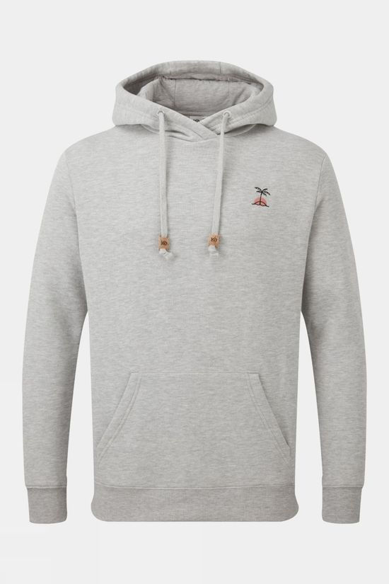 Tentree Mens Palm Sunset Embroidery Hoodie Hi Rise Grey Heather