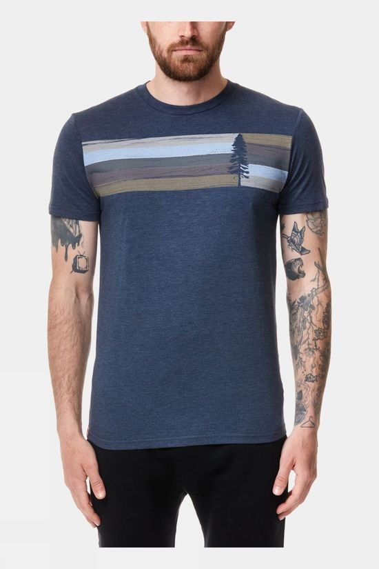 Tentree Mens Spruce Stripe Tee Dress Blue Heather