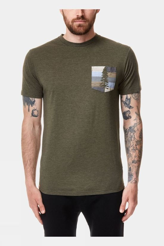 Tentree Mens Spruce Stripe Pocket Tee Olive Night Green Heather