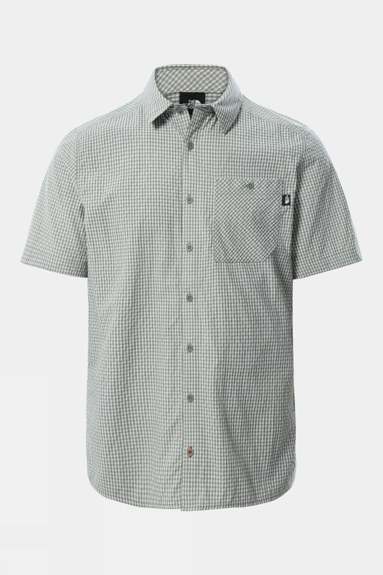 The North Face Mens Hypress Short Sleeve Shirt Agave Green Plaid