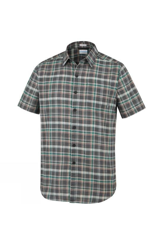 Columbia Mens Under Exposure Yarn Dye Short Sleeve Shirt Shark Plaid