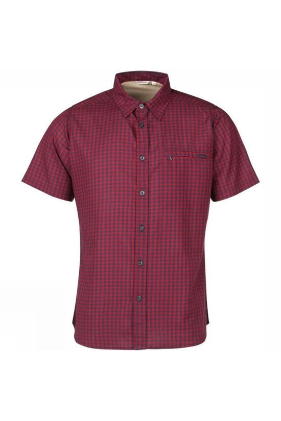 Ayacucho Mens Hiker II Stretch Anti Mosquito Short Sleeve Shirt Navy Red Gingham