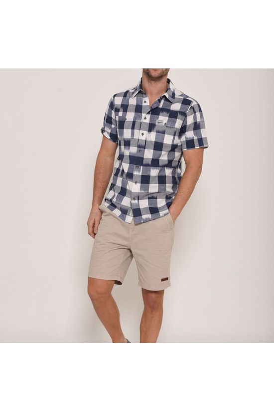 Brakeburn Mens Short Sleeve Surf Check Shirt  Navy