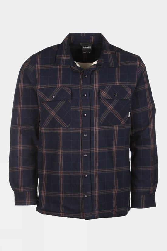 Ayacucho Mens Flannel Padded Shirt Navy/Cathay