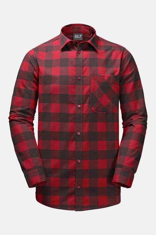 Jack Wolfskin Mens Red River Shirt Red Lacquer Checks