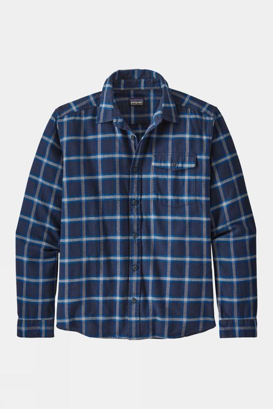 Patagonia Mens Long Sleeved Lightweight Fjord Flannel Shirt Grange/ New Navy