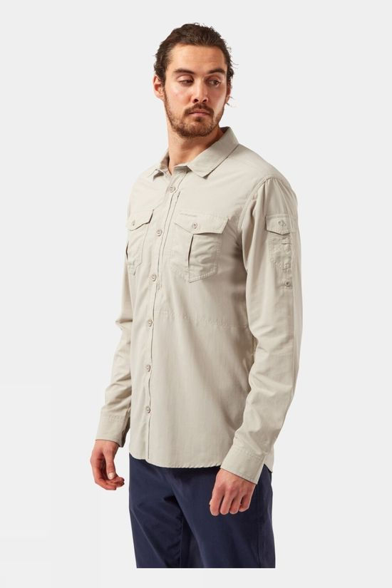 Craghoppers Mens NosiLife Adventure II Long Sleeved Shirt Desert Sand