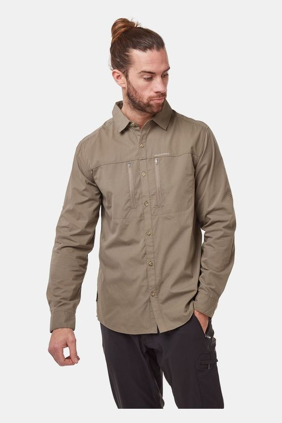 Craghoppers Mens Kiwi Boulder Long Sleeve Shirt Pebble
