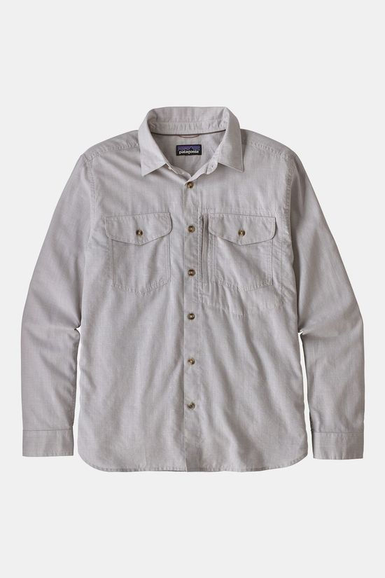 Patagonia Mens Cayo Largo II Long Sleeve Shirt Chambray: Feather Grey