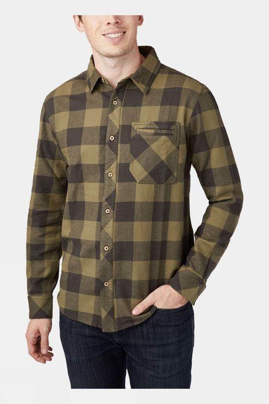 Tentree Benson Button Up Long Sleeve Shirt Benson Plaid Moss