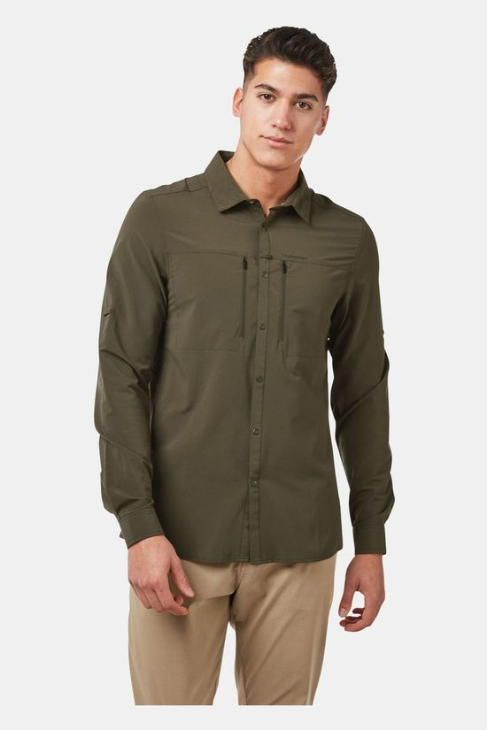 Craghoppers Mens NosiLife IV Long Sleeve Shirt Woodland Green