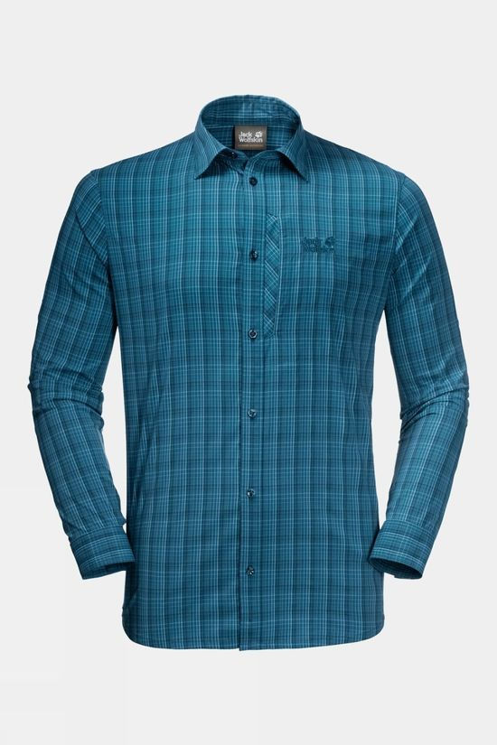 Jack Wolfskin Mens Rays Flex Shirt Dark Cobalt Checks