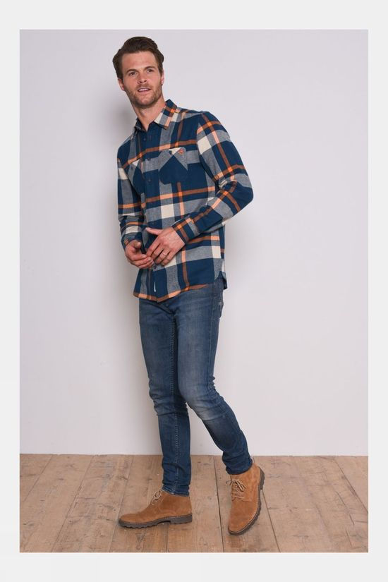 Brakeburn Orange Check Flannel Shirt Orange/Navy