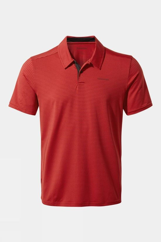 Craghoppers Mens NosiLife Pro Polo Pompeian Red Stripe