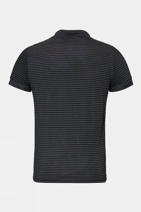Odlo Mens Nikko Dry Polo Shirt Black - Odlo Steel Grey - Stripes