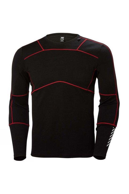 Helly Hansen Mens HH Lifa Merino Crew Top Black/Flag Red