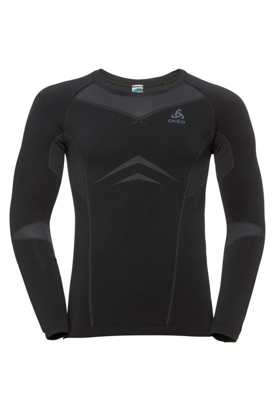Odlo Mens Performance Evolution Base Layer Long-Sleeve Top Black - Odlo Graphite Grey
