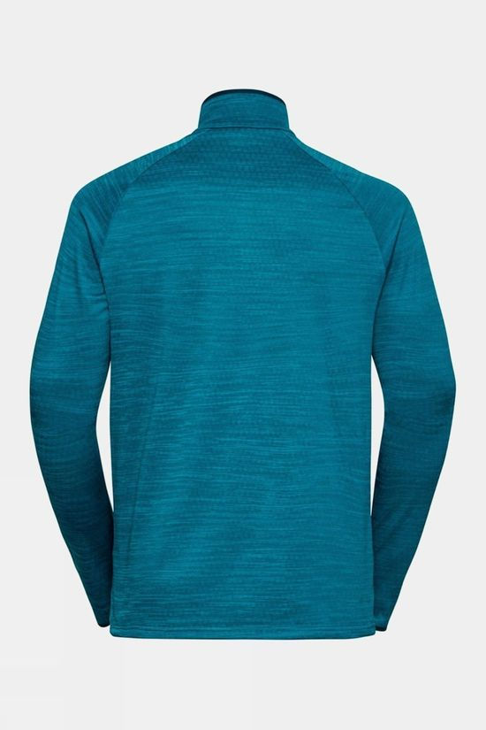 Odlo Mens Millenium Element Half-Zip Long-Sleeve Midlayer Top Tumultuous Sea Melange