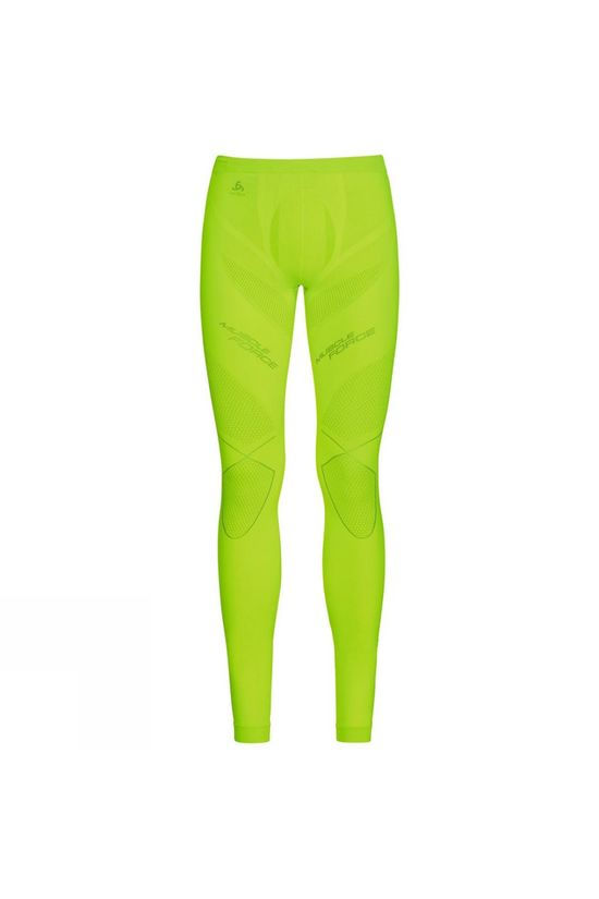 Odlo Mens Evolution Warm Muscle Force Pants Safety Yellow - Platinum Grey