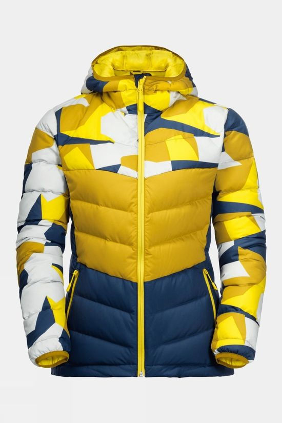 Jack Wolfskin Womens 365 Hideaway Down Jacket Vibrant Yellow All Over