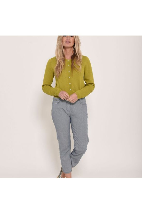Brakeburn Womens Cropped Pointelle Cardigan Green
