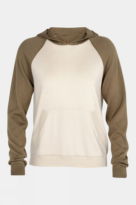 Icebreaker Womens Utility Explore Hooded Pullover Sweater Natural/mid brown