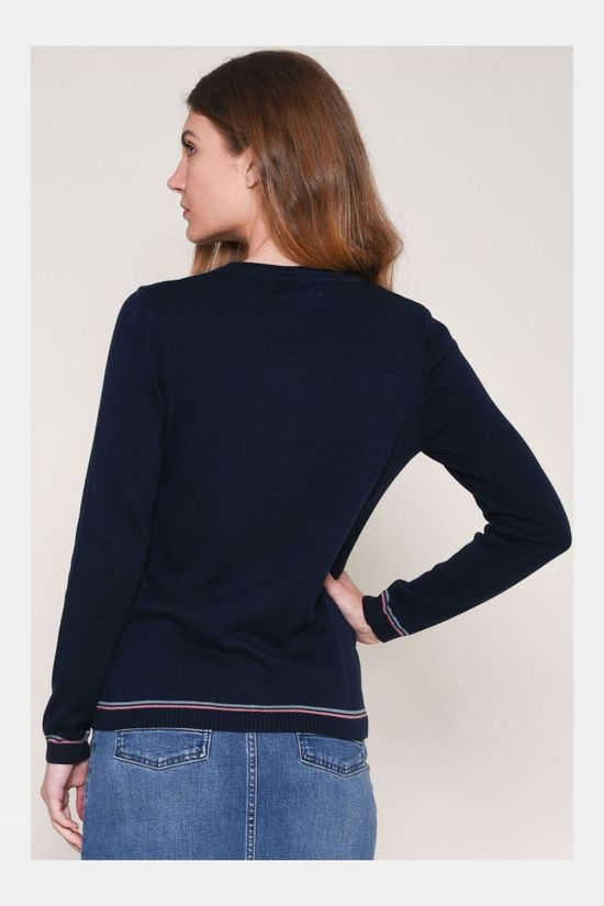 Brakeburn Womens Embroidered Cardigan Navy