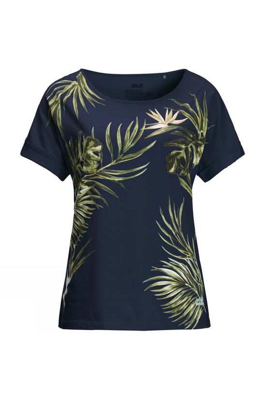 Jack Wolfskin Womens Tropical Leaf T-Shirt Midnight Blue