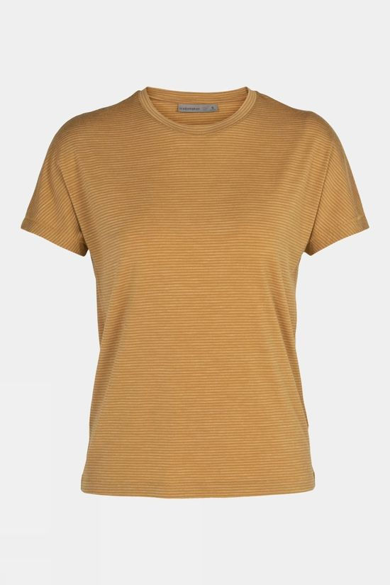 Icebreaker Womens Utility Explore Short Sleeve Crewe Stripe Tan