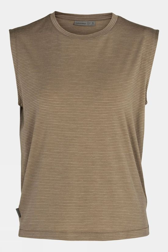 Icebreaker Womens Utility Explore Sleeveless Crew Stripe Mid Brown