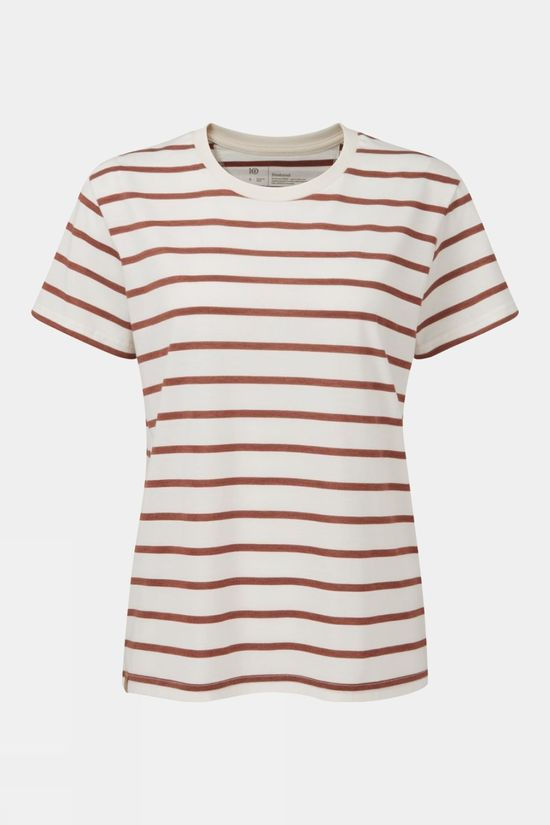 Tentree Womens Breton Stripe Tee Elm White/Henna Red