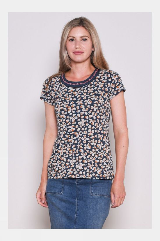 Brakeburn Womens Petals Embroidered Tee Navy