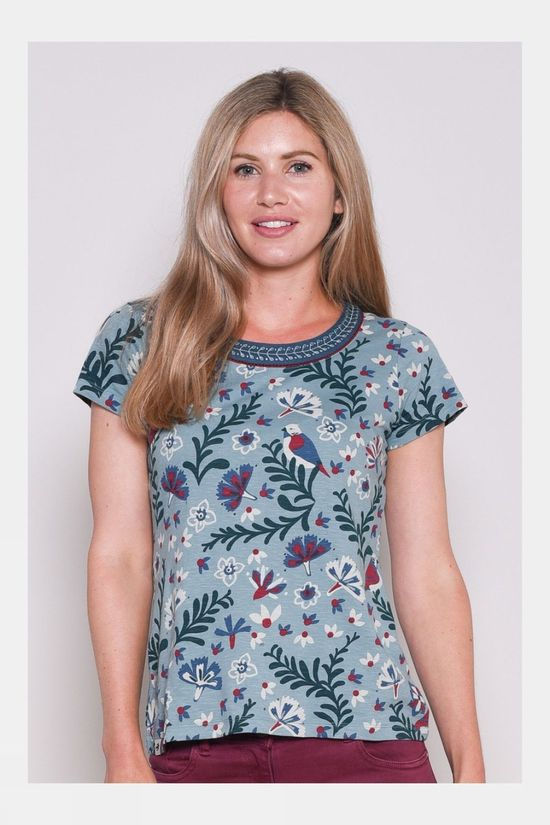 Brakeburn Womens Birds Blossom Embroidered Tee Blue