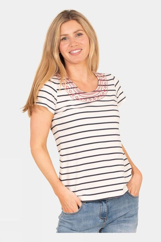 Brakeburn Womens Stripe Embroidery Tee Multi