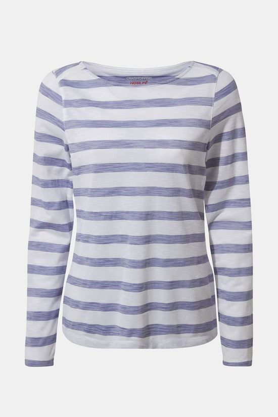 Craghoppers Womens NosiLife Erin Long Sleeved T-shirt Paradise Blue Stripe