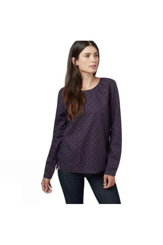 Tentree Womens Balsam Long Sleeve Top Aubergine Purple/Small Tree AOP