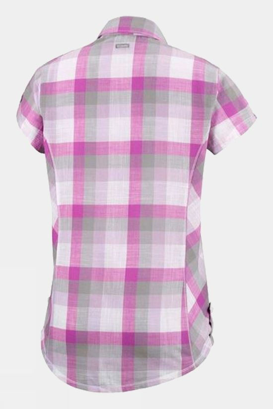 Columbia Womens Camp Henry Short Sleeve Shirt Bright Lavender Block Stripe