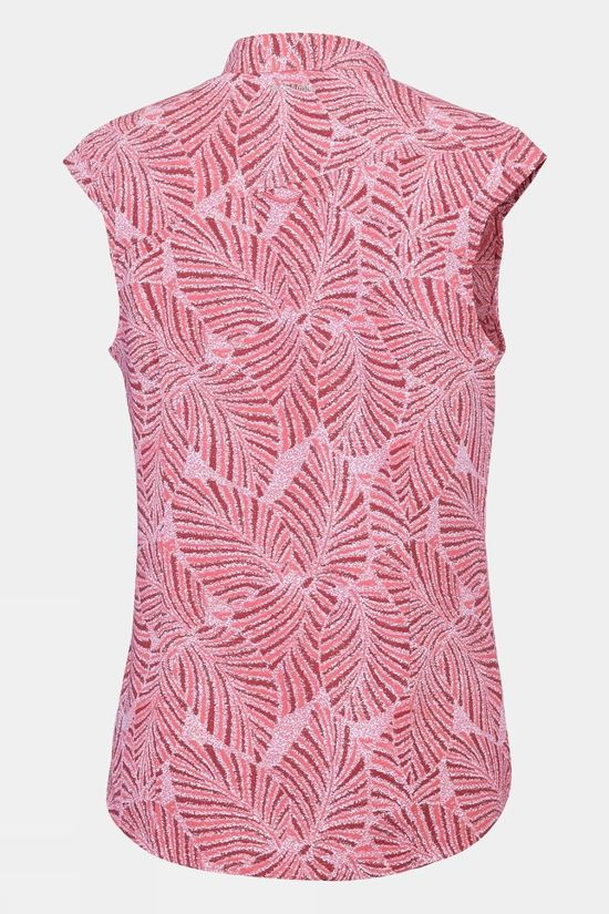 Columbia Womens Saturday Trail Cap Sleeve Shirt Coral Bloom Print