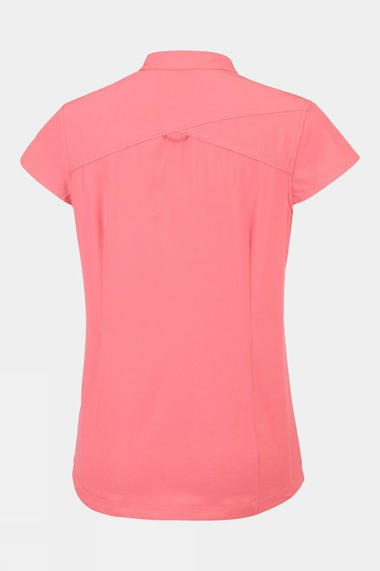 Columbia Womens Saturday Trail Stretch Short Sleeve Shirt Coral Bloom