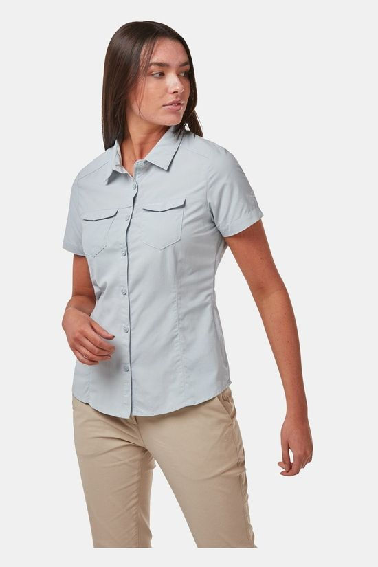 Craghoppers Womens NosiLife Adventure II Short Sleeve Shirt Mineral Blue