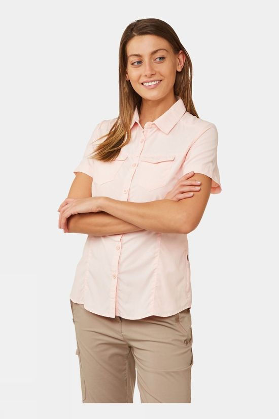 Craghoppers Womens NosiLife Adventure II Short Sleeve Shirt Seashell Pink