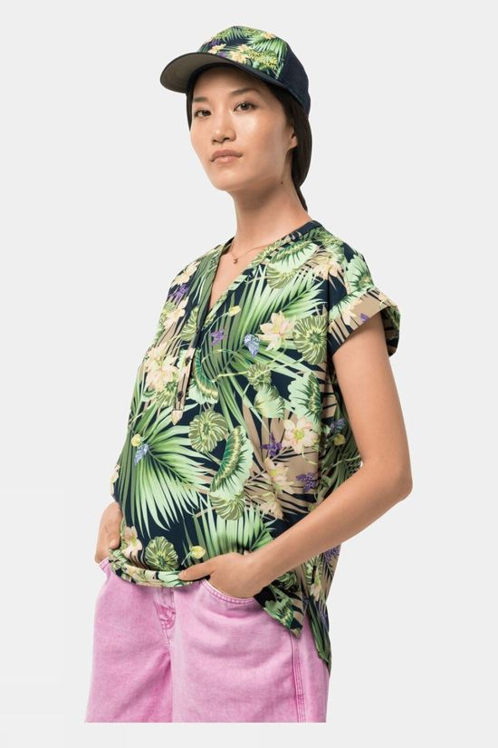 Jack Wolfskin Womens Paradise Shirt Navy Tropical Print