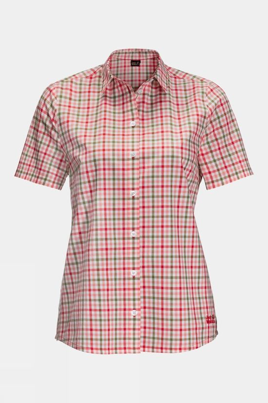 Jack Wolfskin Womens Little Lake Shirt Tulip Red Checks