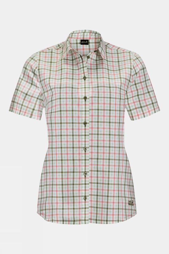 Jack Wolfskin Womens Little Lake Shirt Light Moss Checks