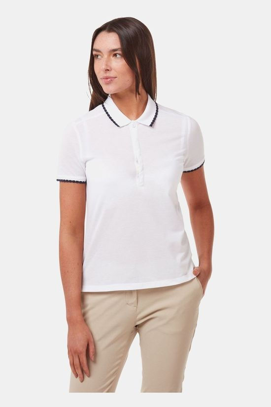 Craghoppers Womens Nosilife Lina Short Sleeve Polo Optic White