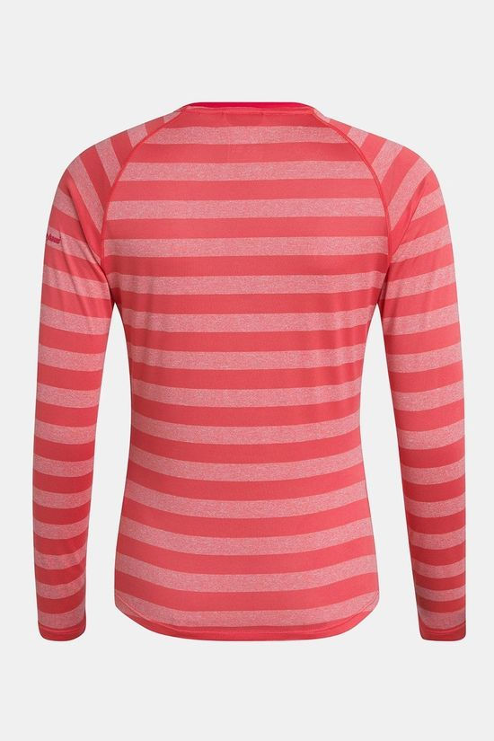 Berghaus Womens Stripe T-shirt Long Sleeve Base Layer 2.0  Cayenne/Vaporous Grey