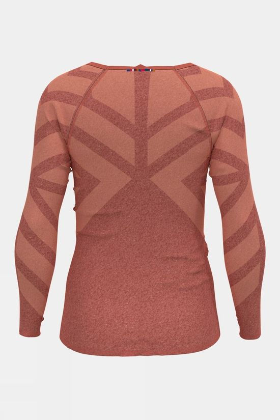 Odlo Womens Kinship Light Long-Sleeve Base Layer Top Burnt Sienna Melange