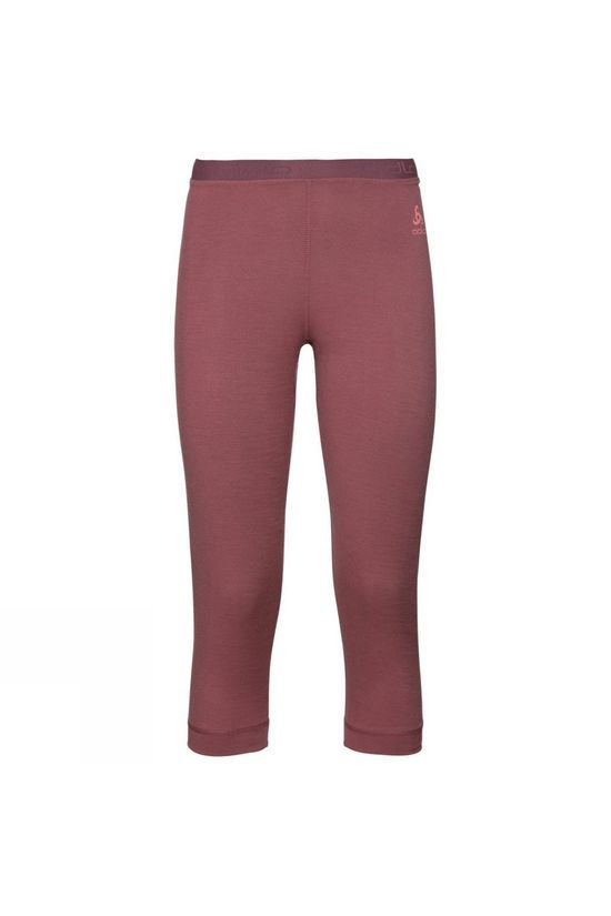 Odlo Womens Natural 100% Merino Warm 3/4 Base Layer Pants Roan Rouge