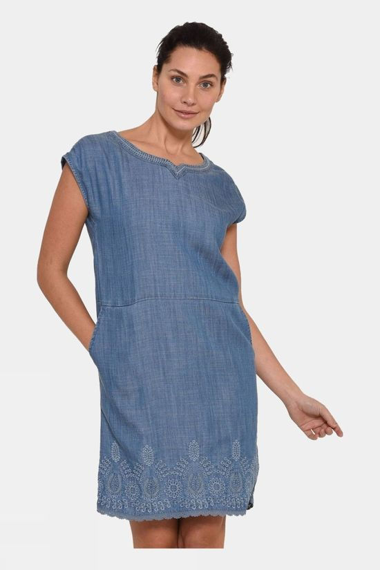 Brakeburn Womens Broderie Anglaise Shift Dress Blue