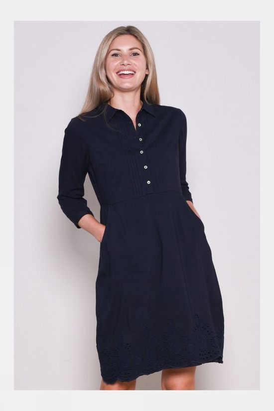 Brakeburn Womens Broderie Anglaise Dress Navy